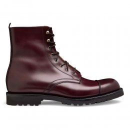 Trafalgar Capped Derby Boot in Burgundy Calf Leather