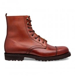 Trafalgar Capped Derby Boot in Dark Leaf Calf Leather