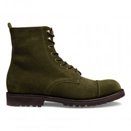 Trafalgar Capped Derby Boot in Dark Sage Suede