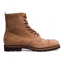 Trafalgar Capped Derby Boot in Tan Waxy Suede