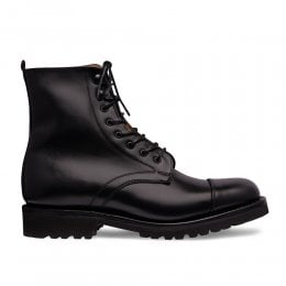 Trudie Capped Derby Boot in Black Calf Leather