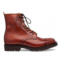Trudie Capped Derby Boot in Dark Leaf Calf Leather