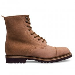 Trudie Capped Derby Boot in Tan Waxy Suede