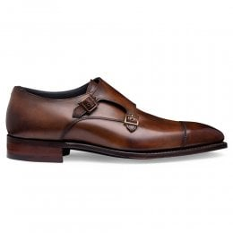 Tudor Double Buckle Monk Shoe in Bronzed Espresso Calf Leather