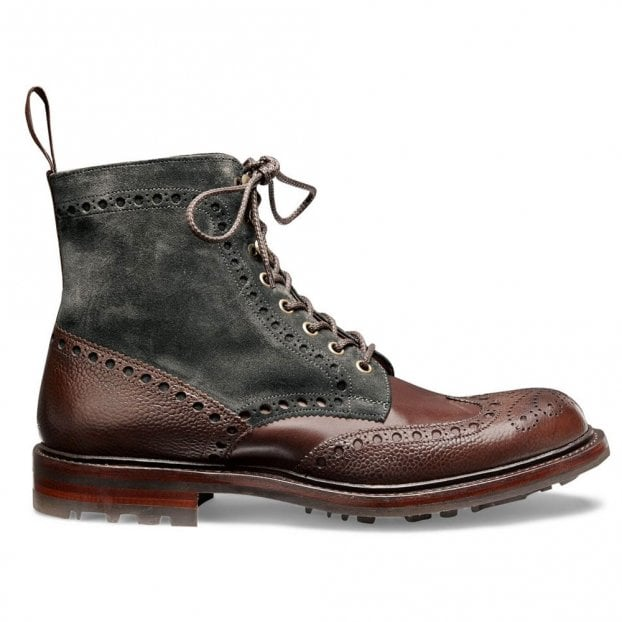 Cheaney Tweed B Wingcap Brogue Boot in Walnut Grain/Khaki Suede
