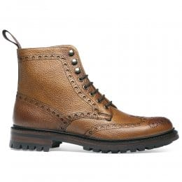 Tweed C Wingcap Brogue Boot in Almond Grain Leather