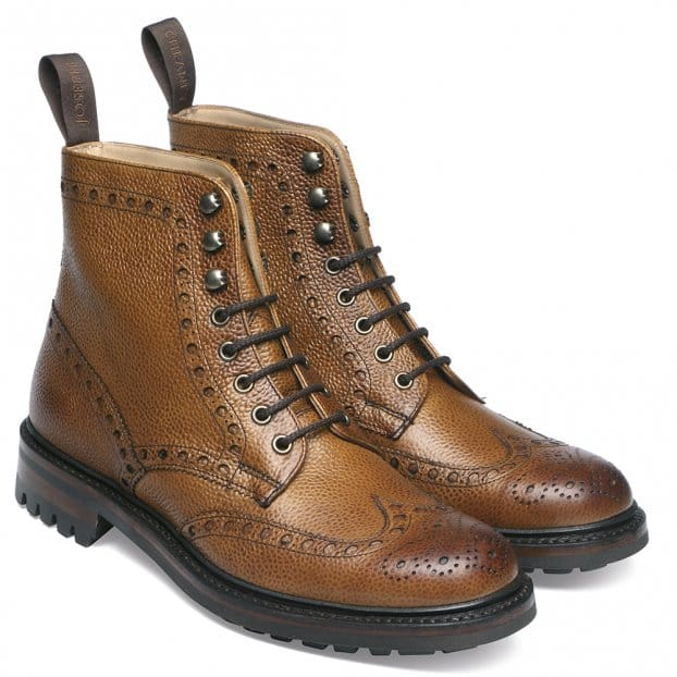 Cheaney Tweed C Wingcap Brogue Country Boot in Almond Grain Leather