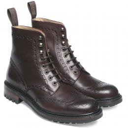 Tweed C Wingcap Brogue Country Boot in Burgundy Calf Leather