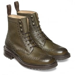 Tweed C Wingcap Brogue Country Boot in Olive Grain Leather