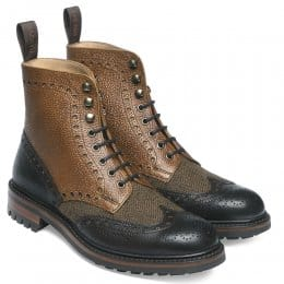 Tweed F Wingcap Brogue Country Boot in Walnut/Almond Calf Leather/Fabric