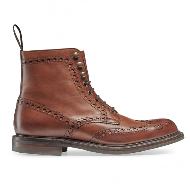 Cheaney Tweed R Wingcap Brogue Boot in Dark Leaf Calf Leather | Dainite Rubber Sole