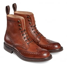Tweed R Wingcap Brogue Country Boot in Dark Leaf Calf Leather | Dainite Rubber Sole