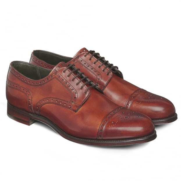 Cheaney Union Semi Brogue in Dark Leaf Calf Leather