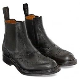 Victoria R Ladies Wingcap Brogue Chelsea Boot in Black Grain Leather