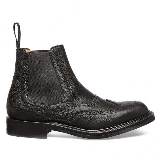 Cheaney Victoria R Ladies Wingcap Brogue Chelsea Boot in Black Grain Leather