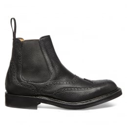 Victoria R Ladies Wingcap Brogue Chelsea Boot in Black Grain Leather
