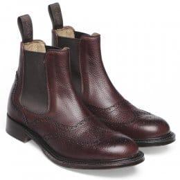 Victoria R Ladies Wingcap Brogue Chelsea Boot in Burgundy Grain Leather