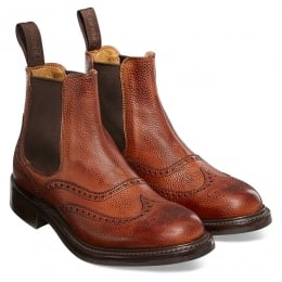 Victoria R Ladies Wingcap Brogue Chelsea Boot in Mahogany Grain Leather