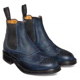 Victoria R Ladies Wingcap Brogue Chelsea Boot in Navy Grain Leather