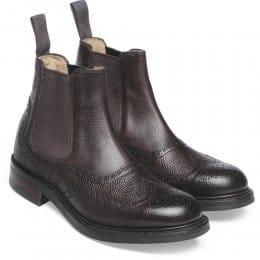 Victoria R Ladies Wingcap Brogue Chelsea Boot in Walnut Grain Leather