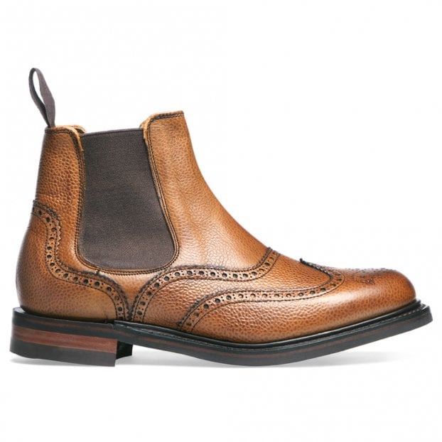 Cheaney Victoria R Wingcap Brogue Chelsea Boot in Almond Grain Leather