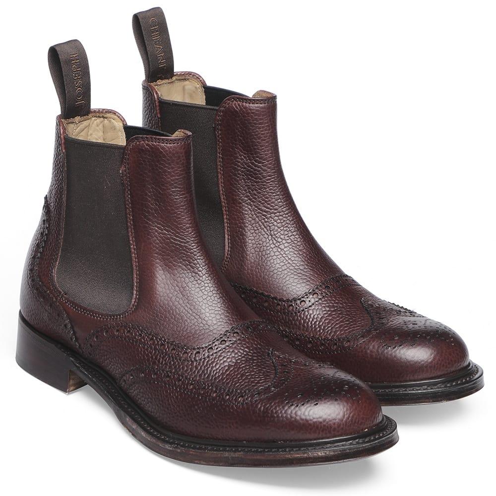 7e10d4e0e1b Cheaney Victoria R Wingcap Brogue Chelsea Boot in Burgundy Grain Leather