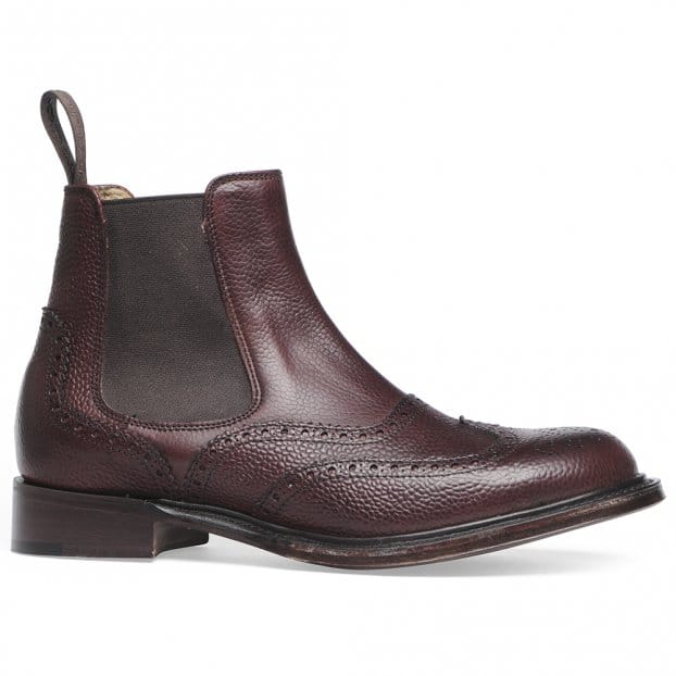 Cheaney Victoria R Wingcap Brogue Chelsea Boot in Burgundy Grain Leather