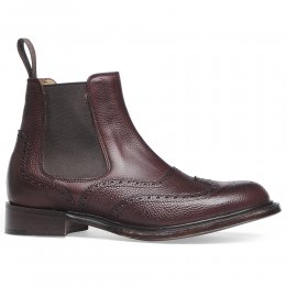 Victoria R Wingcap Brogue Chelsea Boot in Burgundy Grain Leather