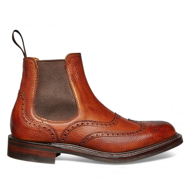 Cheaney Victoria R Wingcap Brogue Chelsea Boot in Mahogany Grain Leather