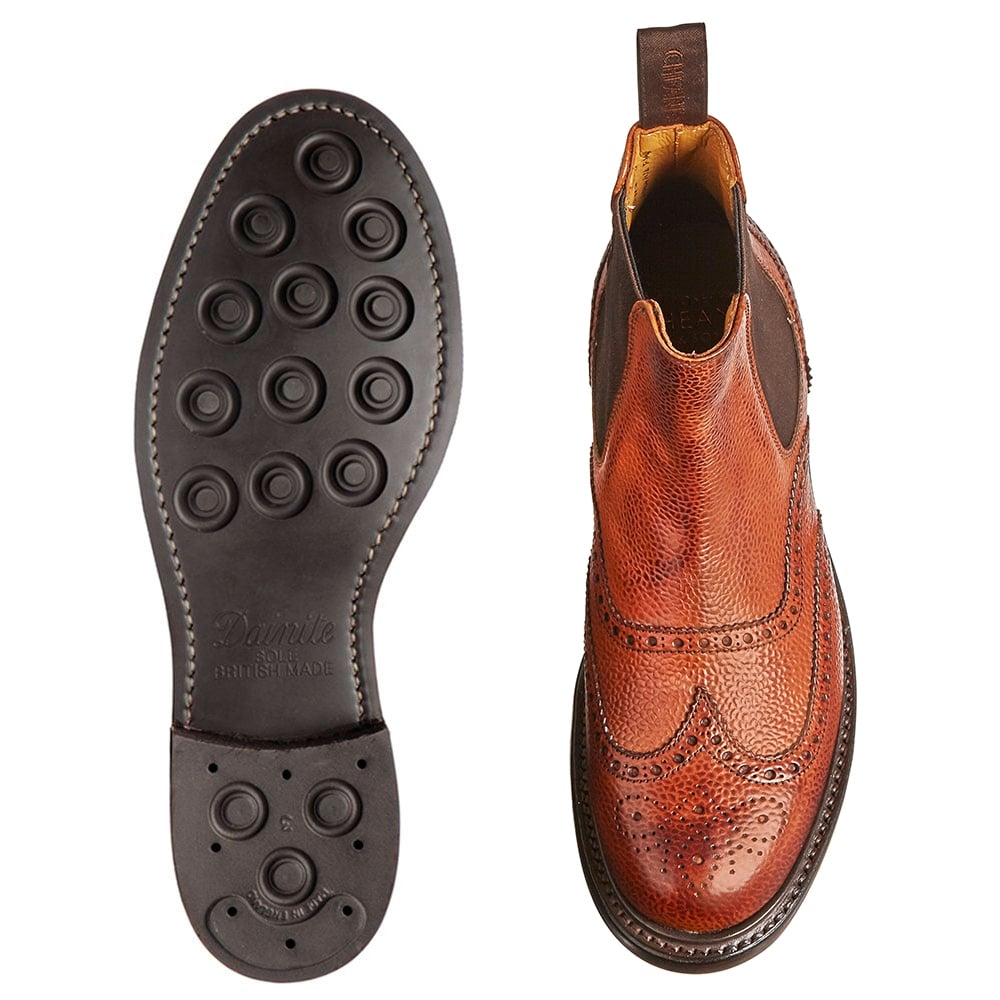 19c26fc0d1c Cheaney Victoria R Wingcap Brogue Chelsea Boot in Mahogany Grain Leather