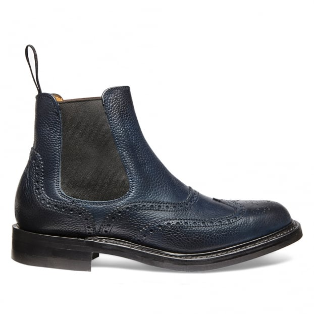 Cheaney Victoria R Wingcap Brogue Chelsea Boot in Navy Grain Leather