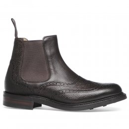 Victoria R Wingcap Brogue Chelsea Boot in Walnut Grain Leather