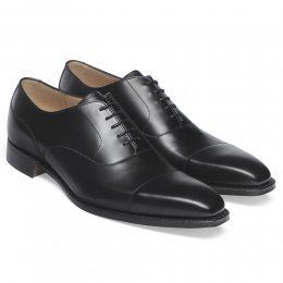Warwick Capped Oxford in Black Calf Leather