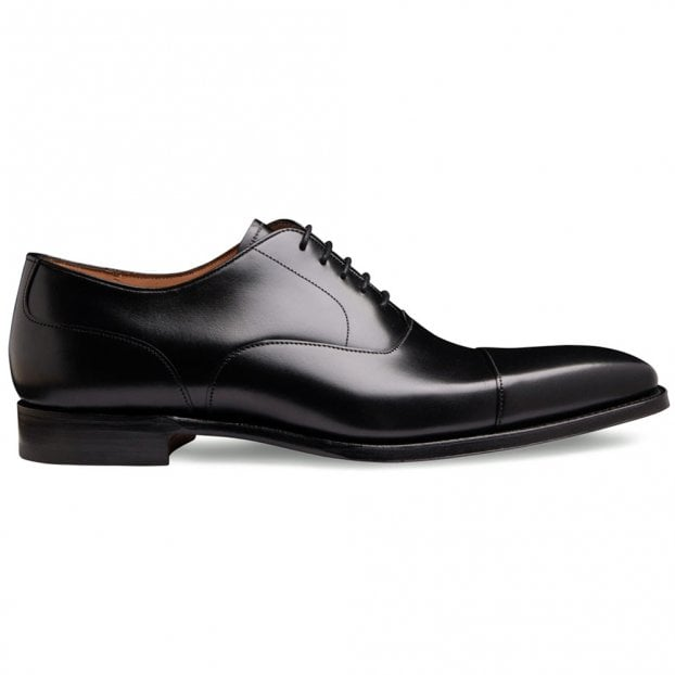 Cheaney Warwick Capped Oxford in Black Calf Leather