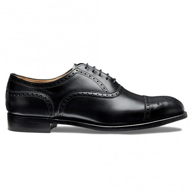 Cheaney Wilfred Oxford Semi Brogue in Black Calf Leather | Leather Sole