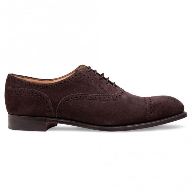 Cheaney Wilfred Oxford Semi Brogue in Brown Soft Suede