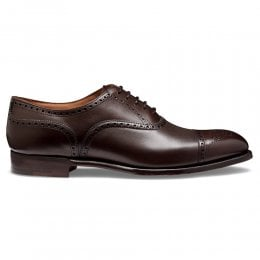 Wilfred Oxford Semi Brogue in Burnished Mocha Calf Leather | Leather Sole