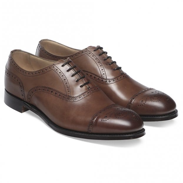Cheaney Wilfred Oxford Semi Brogue in Conker Calf Leather