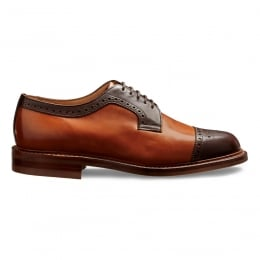 Willenhall R Two Tone Capped Derby in Mocha/Chestnut Calf Leather