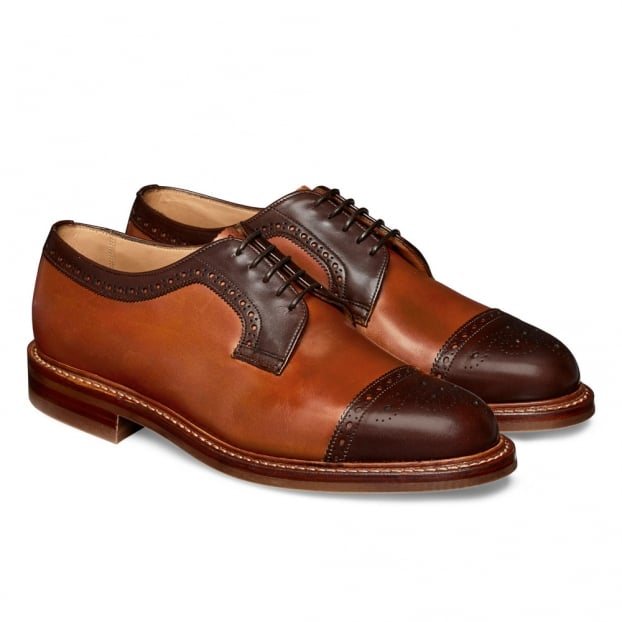 Cheaney Willenhall R Two Tone Capped Derby in Mocha/Chestnut Calf Leather