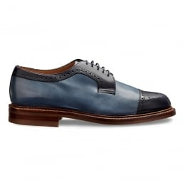 Willenhall R Two Tone Capped Derby in Navy/Denim Calf Leather