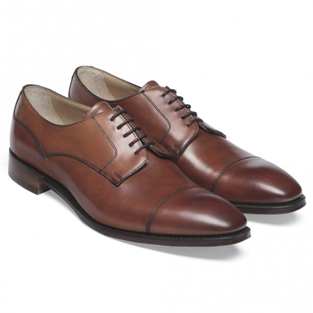Cheaney Wilmslow Capped Derby in Dark Leaf Calf Leather