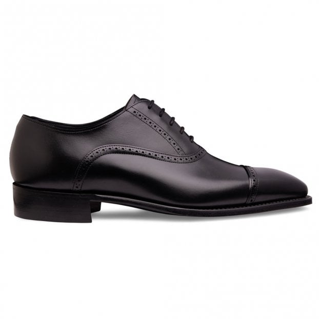 Cheaney Windsor Capped Oxford in Black Calf Leather
