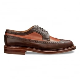 Woodchurch R Two Tone Long Wing Brogue in Mocha/Chestnut Calf Leather