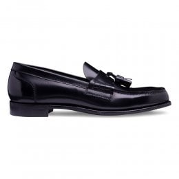 Steadman Tassel Loafer in Black Rub Off Hi Shine Calf Leather