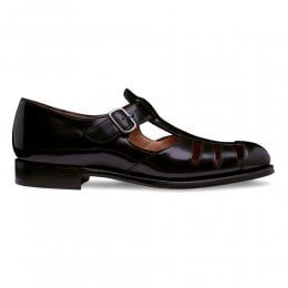 Vietri T-Bar Sandal in Black Rub Off Hi Shine Calf Leather