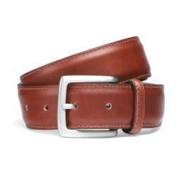 Dark Leaf Stitched Belt with Silver Buckle