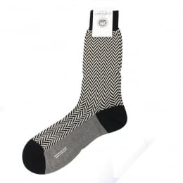 Hertford Black Chunky Herringbone Cotton Lisle Men's Socks