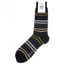 Kilburn Black Multi Striped Mens Socks