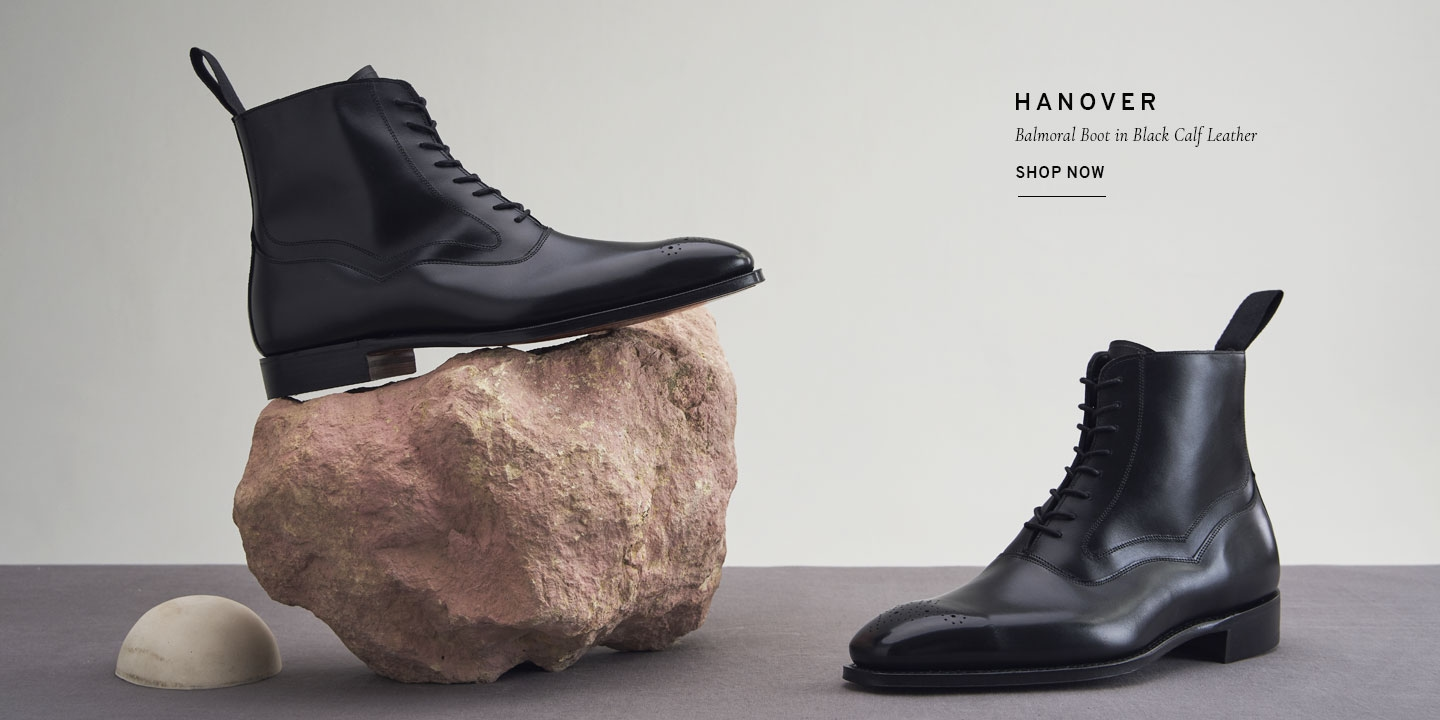 Hanover Balmoral Boot in Black Calf Leather | Shop Now